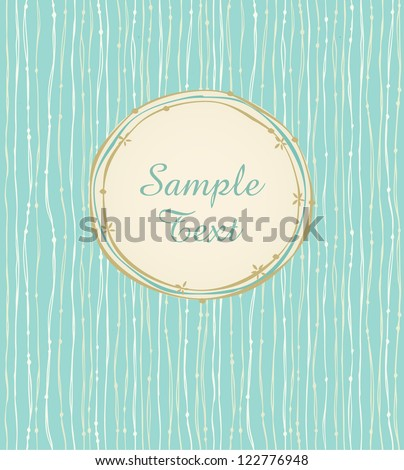 Hand drawn seamless background with linear pattern and text frame. Template for design and decoration greeting cards, covers - stock vector