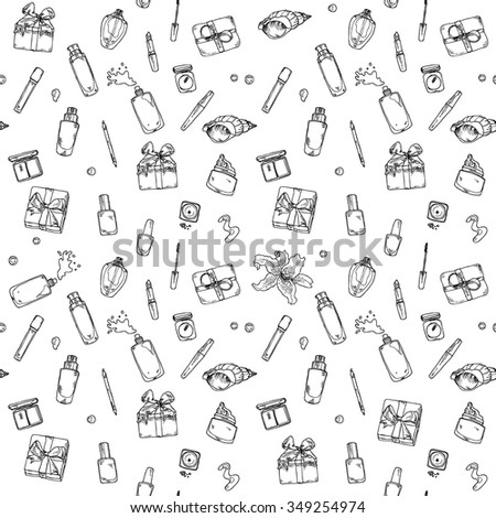 Hand drawn seamless black and white cosmetics pattern in vector - stock vector
