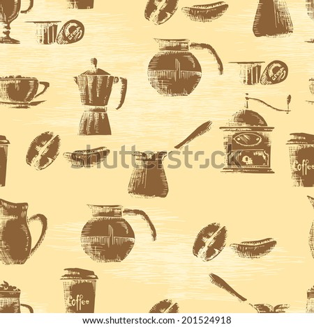 Hand drawn seamless coffee background - stock vector