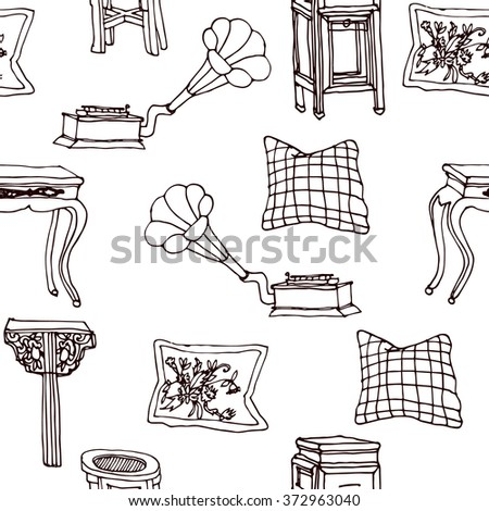 Hand drawn seamless colorful pattern with set of outline living furniture - chairs, gramophone, tables, pillows. Hand drawn design of postcard , textile, notebook, book. - stock vector
