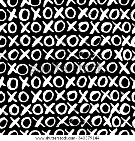 Hand drawn seamless cross shapes pattern. Christmas HoHo. Dry brush and rough edges ink doodle illustration. Abstract vector background. - stock vector