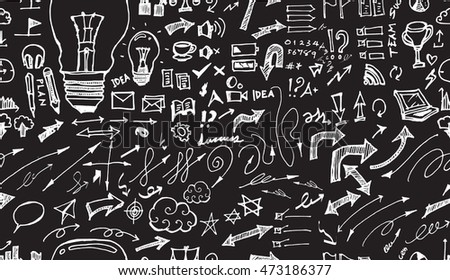 Hand drawn seamless doodle pattern with business symbols chalkboard