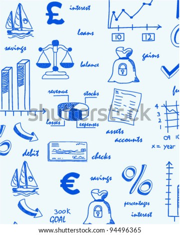 Hand Drawn Seamless Finance Icons      changeable background    vector eps10 - stock vector