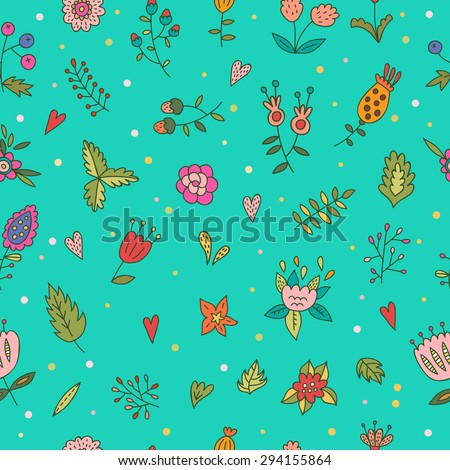 Hand drawn seamless floral pattern - stock vector