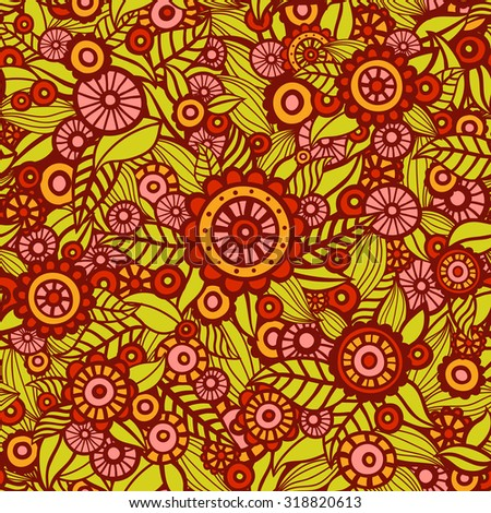 Hand drawn seamless floral pattern. Flowers and leaves. Gorgeous endless pattern. Ornate floral background can be used for wallpaper, pattern fills, web page background, surface textures.