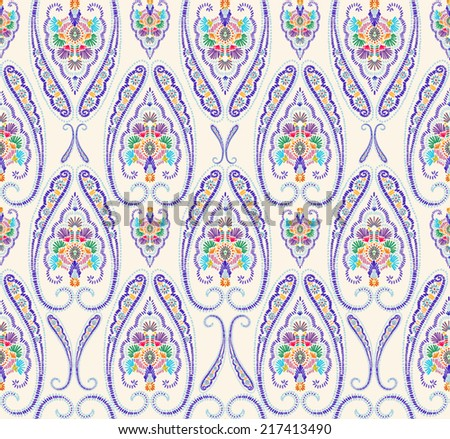 Hand drawn seamless folk pattern - stock vector