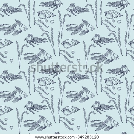 Hand drawn seamless goldfish pattern with a shell and pearl in vector - stock vector