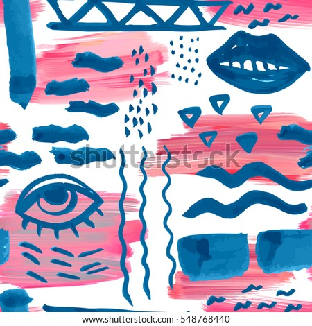 Hand drawn seamless ink pattern with abstract elements. Oil paint brush background. Sketch design for print, home decor, textile, wrapping paper, fashion fabric