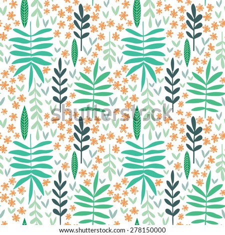 Hand-drawn seamless leaf pattern, decorative floral texture - stock vector