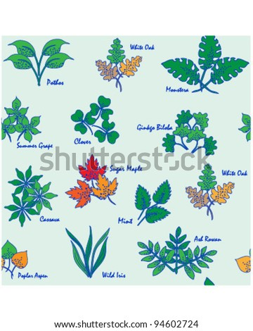 Hand Drawn Seamless Leaves Icons      changeable background    vector eps10 - stock vector