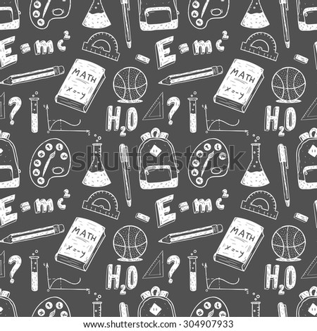 Hand drawn seamless pattern. Back to school doodle set.