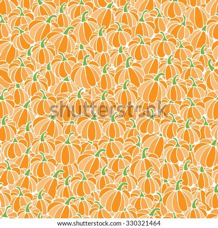 Hand drawn seamless pattern background from pumpkins for Halloween. Vector illustration for greeting cards, prints and design invitation - stock vector