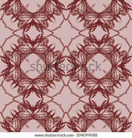 Hand drawn seamless pattern. Floral stylish background. Vector repeating texture - stock vector