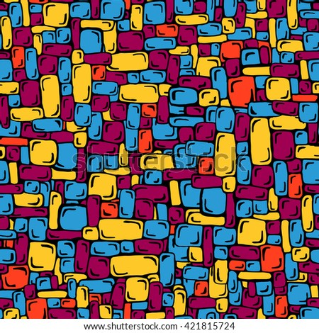 Hand-drawn seamless pattern in bright colorful shades of yellow, red, violet and blue. Cute vector ornament for textile print and web design.