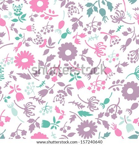 Hand drawn seamless pattern in tender pastel tones. Autumn floral endless background - stock vector