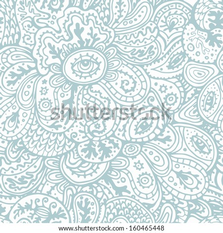 Hand drawn seamless pattern in tender pastel tones. fantasy endless background - stock vector