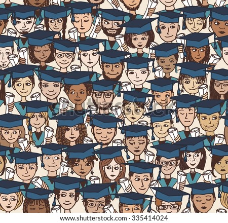 Hand drawn seamless pattern of a group of cartoon students with graduation caps and their degree in their hands - stock vector