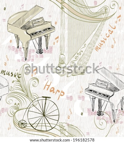 hand drawn seamless pattern of classical musical instruments - stock vector