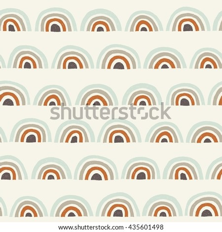Hand drawn seamless pattern of semicircles and rings in pastel colors. Decorative ornament in vector. Colorful background can be used for textile design - stock vector