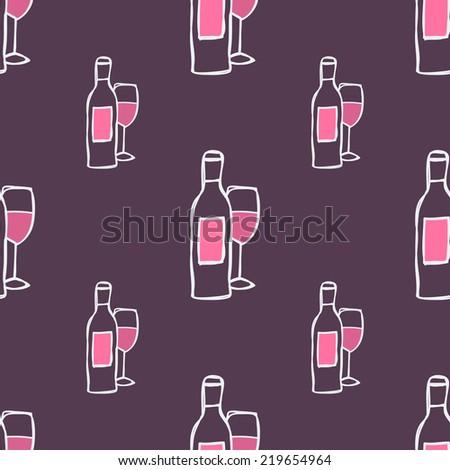 Hand-drawn seamless pattern. Vector illustration. Wine stuff - bottle, glass - stock vector