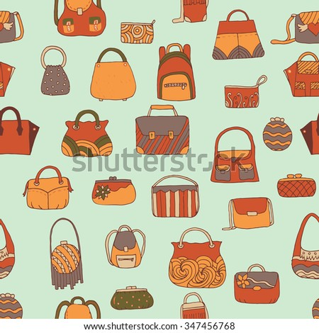 Hand drawn seamless pattern with a women handbags