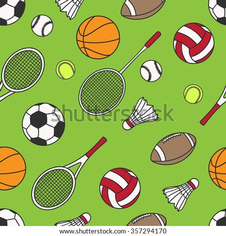 Hand drawn seamless pattern with collection of sports equipment. Design background vector. Colorful illustration with set of sport icons. Decorative wallpaper, good for printing