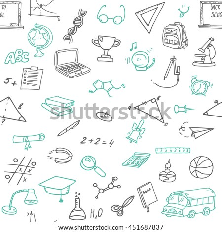 Hand-drawn seamless pattern with different school objects. Line art repeated background wit h study equipment, school bus, marks, drawings etc.