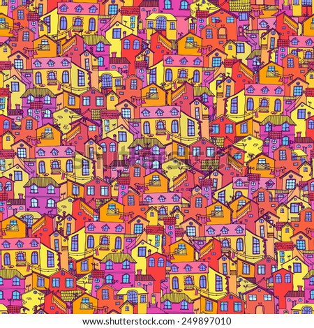 Hand-drawn seamless pattern with doodle houses. Cartoon hand drawn vector. - stock vector