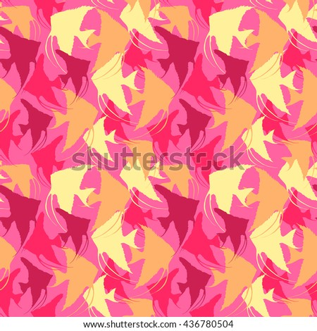 hand drawn seamless pattern with  fish. vector pattern with  silhouettes of angelfish  different shapes, colors and sizes.  Endless background. pink Vector Seamless pattern with scalar silhouettes. - stock vector