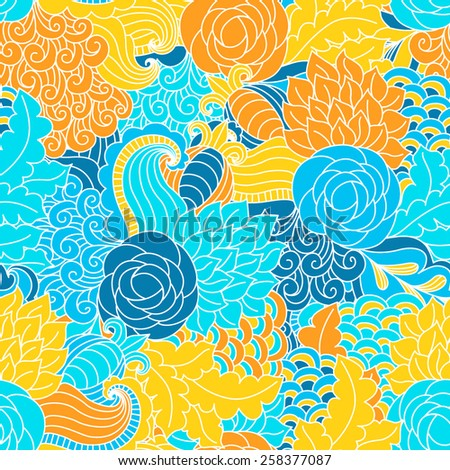Hand drawn seamless pattern with floral elements. Colorful background. Pattern can be used for fabric, wallpaper or wrapping.