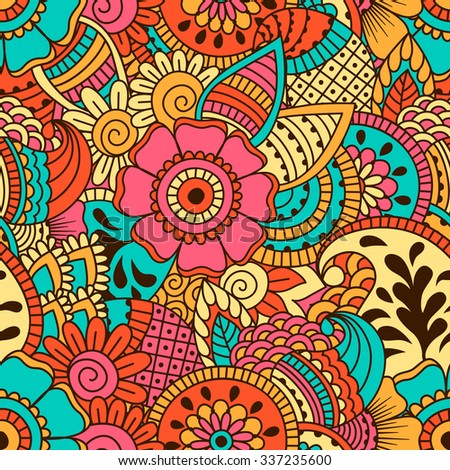 Hand drawn seamless pattern with floral elements. Colorful ethnic background. Pattern can be used for fabric, wallpaper or wrapping.