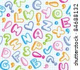 hand drawn seamless pattern with funny alphabet - stock vector