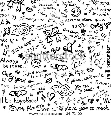 hand drawn seamless pattern with inscriptions about love - stock vector
