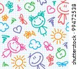 hand drawn seamless pattern with kids and summer symbols - stock