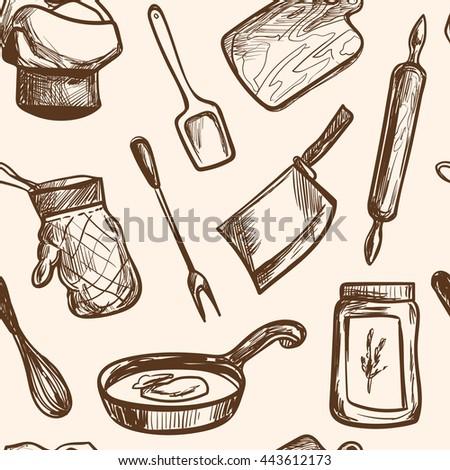 Vintage Kitchen Utensils Illustration vintage kitchen pattern stock images, royalty-free images