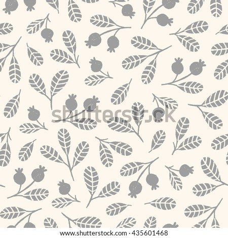 Hand drawn seamless pattern with leaves and berries in pastel colors. Decorative ornament in vector. Floral background can be used for textile design - stock vector