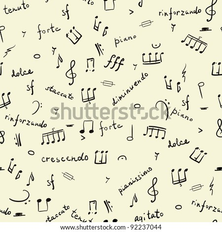 hand drawn seamless pattern with musical signs - stock vector