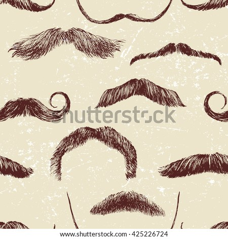 Hand drawn seamless pattern with mustaches - stock vector