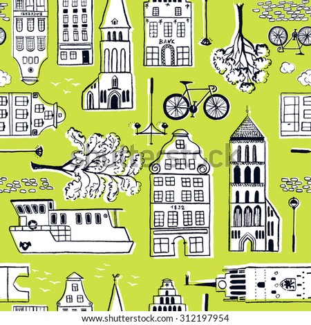 Hand-drawn seamless pattern with old town / Vector illustration