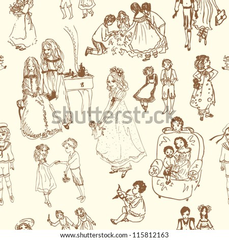hand drawn seamless pattern with playing kids