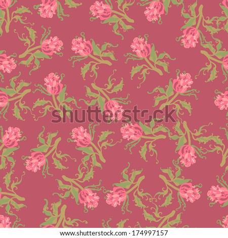 Hand drawn seamless pattern with pretty small roses. Endless floral background