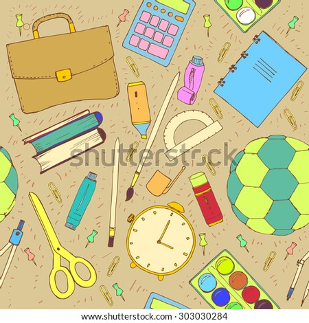 Hand drawn seamless pattern with school items