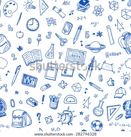 Hand drawn seamless pattern with school sign and symbol doodles elements.