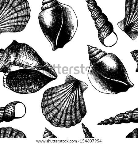 Hand drawn seamless pattern with sea shell isolated on white. Vintage background with engraving elements. Vector illustration. - stock vector