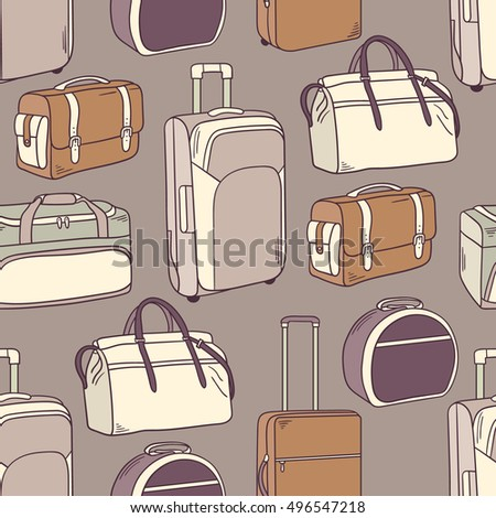 Hand drawn seamless pattern with suitcases icons. Colorful collection of bags. Sketch objects, assortment baggage. Doodle illustration, decorative background vector