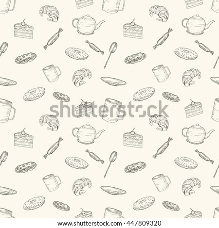 Hand drawn seamless pattern with sweet food for tea and coffee.