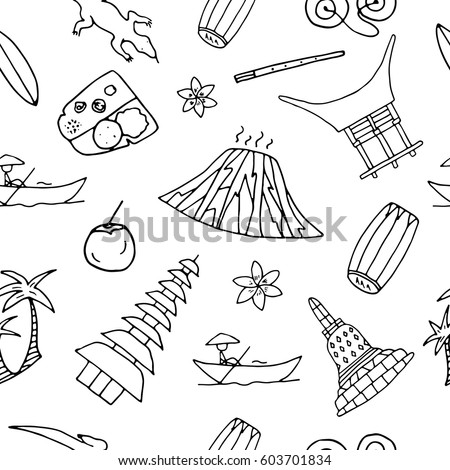 Hand Drawn Seamless Pattern With Symbols Of Indonesia Including Bromo Volcano Komodo Borobudur