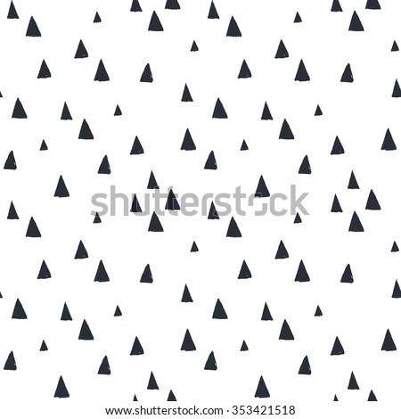 Hand drawn seamless pattern with triangles on white background. For wrapping, surface design, wallpaper, greeting cards - stock vector