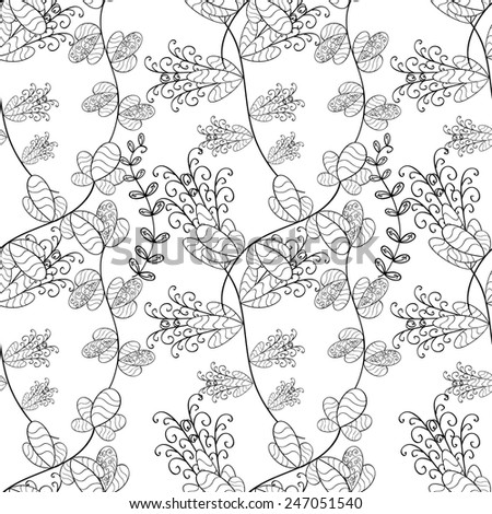 Hand drawn seamless pattern with various elements, flowers, branch.  - stock vector