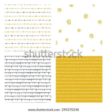 hand drawn seamless patterns: mustard yellow, gray and white, vector illustration - stock vector
